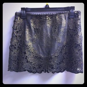 Super mini cut lace club wear black bronze skirt
